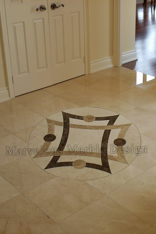 Water Jet cut Marble Medallion in Cream Marfil floor