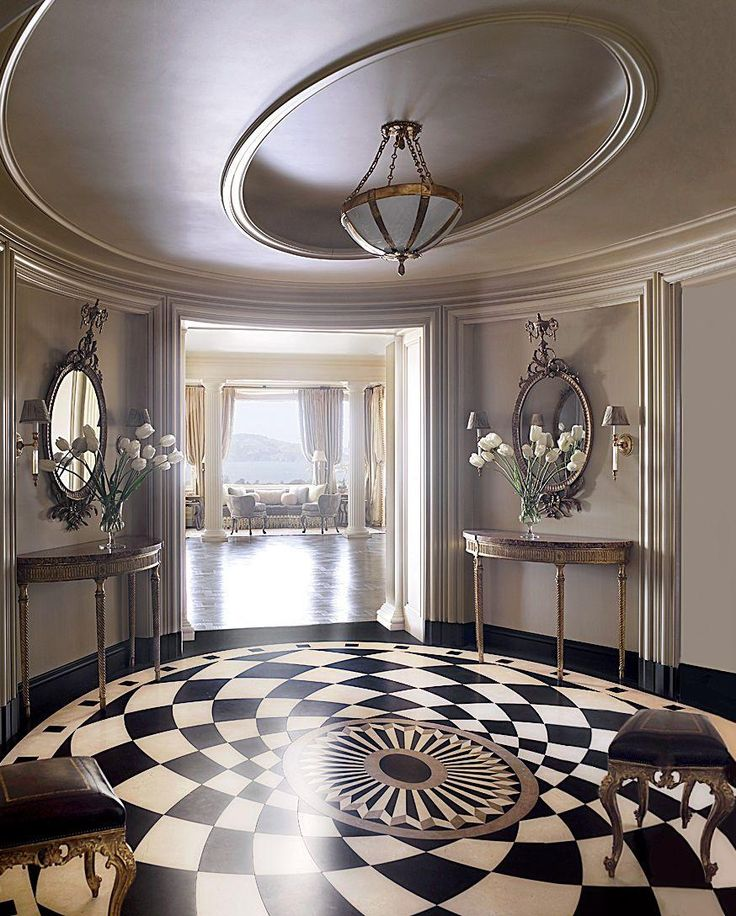 Black and White Twisted Marble Floor Design