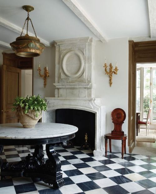 Classic Black and White Marble Floor Design